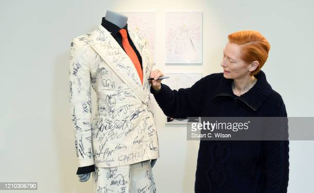 Tilda Swinton attends the Sandy Powell Derek Jarman Suit Private View at Phillips Auction House on March 04 2020 in London England