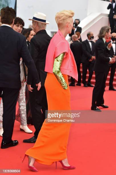 """Tilda Swinton attends the """"The French Dispatch"""" screening during the 74th annual Cannes Film Festival on July 12, 2021 in Cannes, France."""