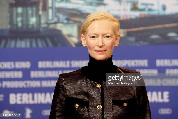 Tilda Swinton attends the The Souvenir press conference during the 69th Berlinale International Film Festival Berlin at Grand Hyatt Hotel on February...