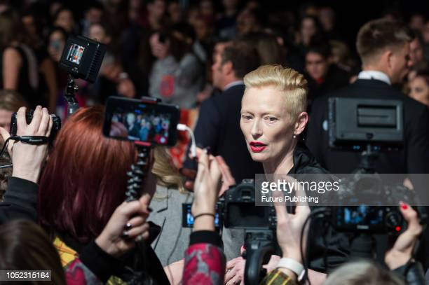 Tilda Swinton attends the UK film premiere of 'Suspiria' at Cineworld, Leicester Square, during the 62nd London Film Festival Headline Gala. October...