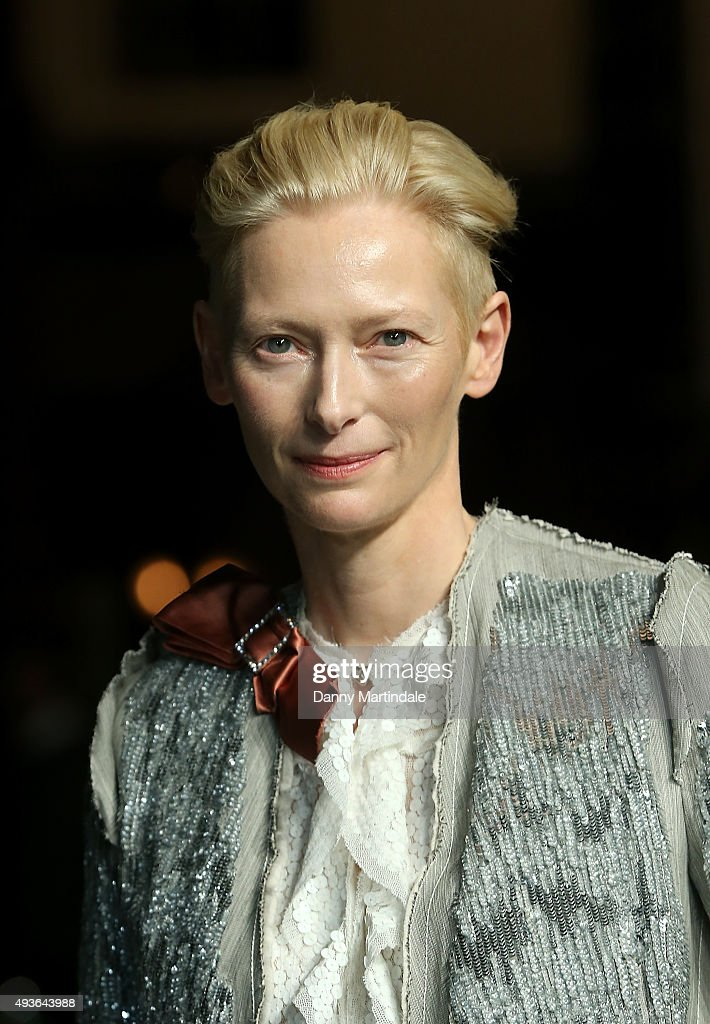 Tilda Swinton attends the VIP Premiere of 'A Bigger Splash' hosted by AnOther magazine and Dior at The Curzon Mayfair on October 21, 2015 in London, England.