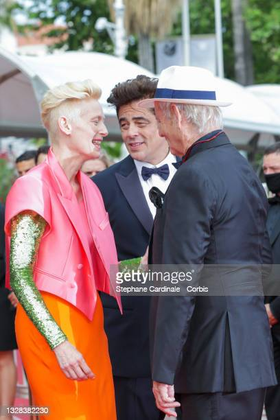 """Tilda Swinton, Bill Murray and Benicio Del Toro attends the """"The French Dispatch"""" screening during the 74th annual Cannes Film Festival on July 12,..."""