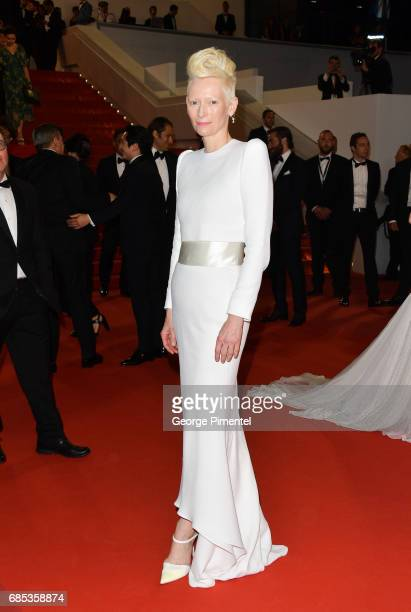 Tilda Swinton departs from the Okja screening during the 70th annual Cannes Film Festival at Palais des Festivals on May 19 2017 in Cannes France