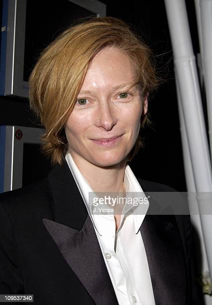 Tilda Swinton during 2002 Venice Film Festival 'Tilda Swinton The Love Factory' Party at 123 Tent at the Casino in Venice Lido Italy