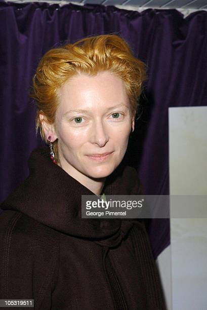 Tilda Swinton during 2004 Cannes Film Festival Motorcycle Diaries Party at La Plage Coste in Cannes France