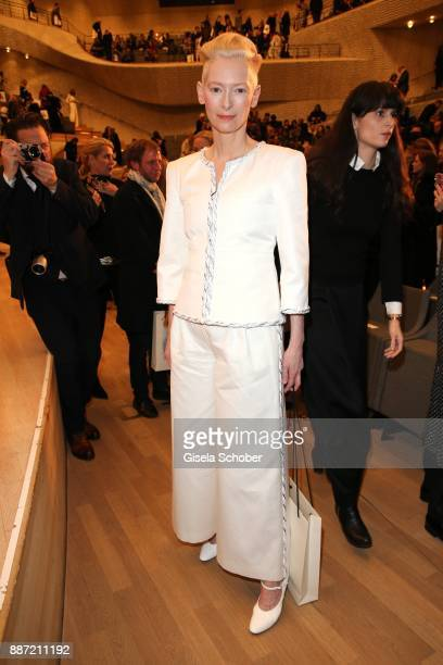 Tilda Swinton during the Chanel 'Trombinoscope' collection Metiers d'Art 2017/18 show at Elbphilharmonie on December 6 2017 in Hamburg Germany