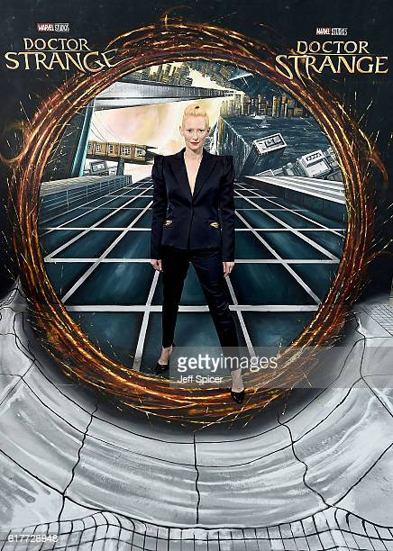 Tilda Swinton in front of the Doctor Strange inspired 3D Art at a fan screening, to celebrate the release of Marvel Studio's Doctor Strange at the...