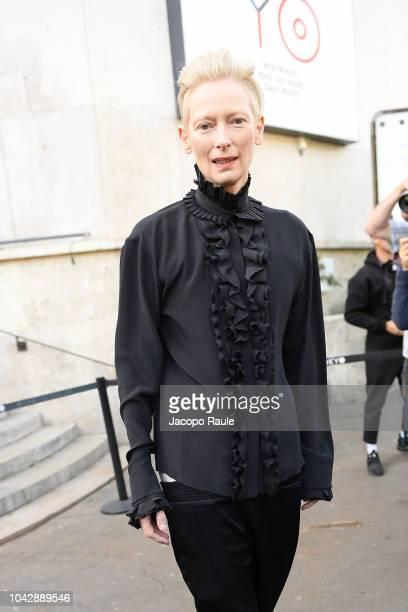Tilda Swinton is seen arriving at Haider Ackermann fashion show during Paris Fashion Week Womenswear Spring/Summer 2019 on September 29, 2018 in...