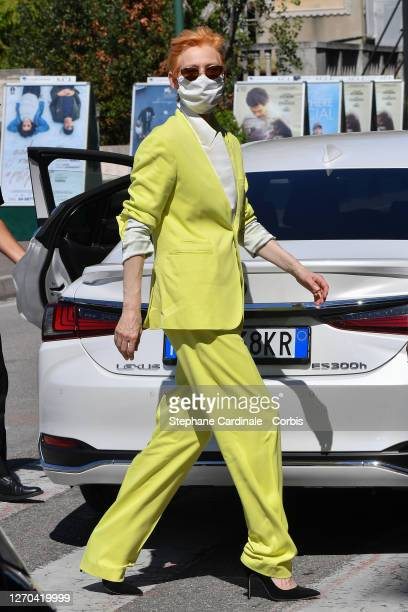 Tilda Swinton is seen arriving at the 77th Venice Film Festival on September 03, 2020 in Venice, Italy.
