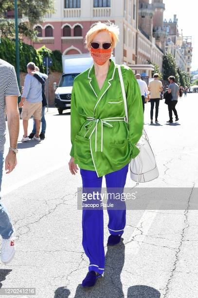 Tilda Swinton is seen arriving at the Excelsior during the 77th Venice Film Festival on September 02, 2020 in Venice, Italy.