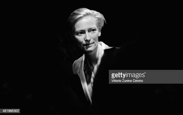 Tilda Swinton is seen backstage during the MercedesBenz Fashion Week Spring/Summer 2015 at Erika Hess Eisstadion on July 10 2014 in Berlin Germany