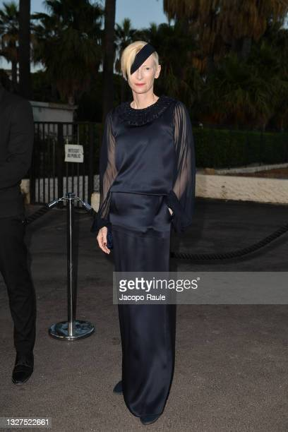 Tilda Swinton is seen during the 74th annual Cannes Film Festival at on July 07, 2021 in Cannes, France.