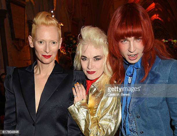 Tilda Swinton, Pam Hogg and Josh Quinton attend Marvel Studios and British GQ hosted reception in The Cloisters at Westminster Abbey, to celebrate...