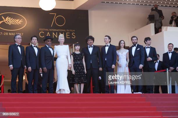 Tilda Swinton Paul Dano Byung Heebong Ahn SeoHyun director Bong JoonHo actress Lily Collins Steven Yeun Devon Bostic Giancarlo Esposito and Jake...