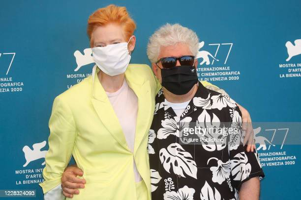 Tilda Swinton, Pedro Almodovar attends the photocall of 'The Human Voice' at the Palazzo del Casino.- PHOTOGRAPH BY P. Lehman / Barcroft Studios /...