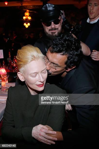 Tilda Swinton Peter Marino and Stylist of Berluti Men Haider Ackermann attend the Berluti Dinner as part of Paris Fashion Week Menswear F/W 20172018...