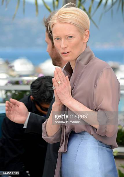 """Tilda Swinton poses at the """"Moonrise Kingdom"""" photocall during the 65th Annual Cannes Film Festival at Palais des Festivals on May 16, 2012 in..."""