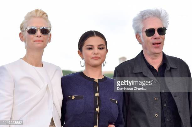 "Tilda Swinton, Selena Gomez and Director Jim Jarmusch attend the photocall for ""The Dead Don't Die"" during the 72nd annual Cannes Film Festival on..."