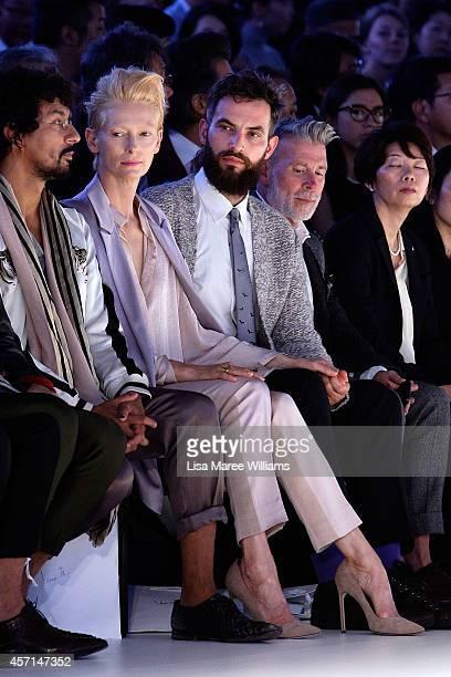 Tilda Swinton sits front row during the HANAE MORI designed by Yu Amatsu show as part of Mercedes Benz Fashion Week TOKYO 2015 S/S at Shibuya Hikarie...