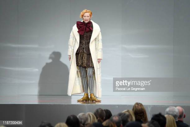 Tilda Swinton speaks on stage during the Karl Lagerfeld Homage at Grand Palais on June 20, 2019 in Paris, France.