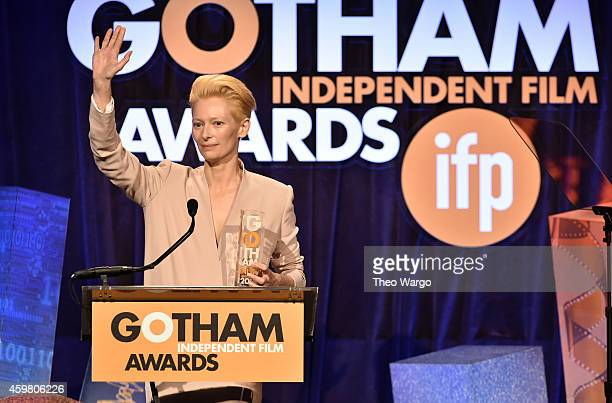 Tilda Swinton speaks onstage at IFP's 24th Gotham Independent Film Awards at Cipriani Wall Street on December 1 2014 in New York City