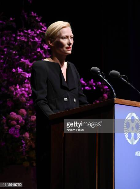 Tilda Swinton speaks onstage during the Film Society Of Lincoln Center's 50th Anniversary Gala at Lincoln Center on April 29 2019 in New York City