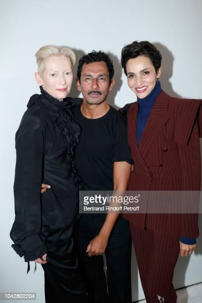 Tilda Swinton stylist Haider Ackermann and Farida Khelfa pose after the Haider Ackermann show as part of the Paris Fashion Week Womenswear...