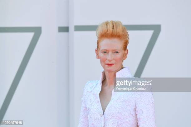 """Tilda Swinton walk sthe red carpet ahead of the movie """"The Human Voice"""" at the 77th Venice Film Festival at on September 03, 2020 in Venice, Italy."""