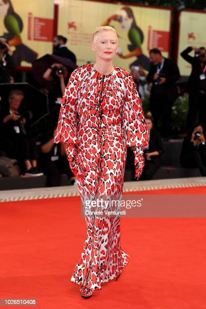 Tilda Swinton walks the red carpet ahead of the 'At Eternity's Gate' screening during the 75th Venice Film Festival at Sala Grande on September 3...