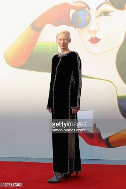 Tilda Swinton walks the red carpet ahead of the L'Annee Derniere a Marienbad screening during the 75th Venice Film Festival at Sala Giardino on...