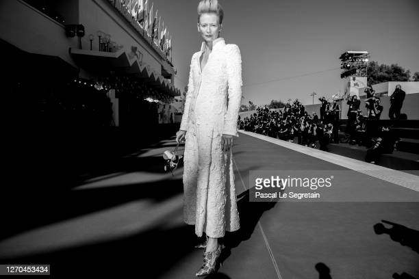 """Tilda Swinton walks the red carpet ahead of the movie """"The Human Voice"""" and """"Quo Vadis, Aida?"""" at the 77th Venice Film Festival at on September 03,..."""
