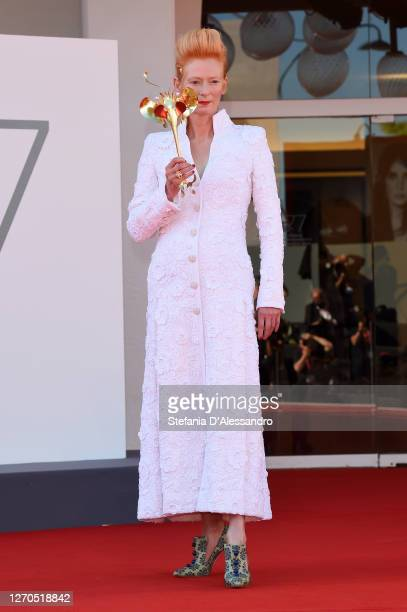 """Tilda Swinton walks the red carpet ahead of the movie """"The Human Voice"""" at the 77th Venice Film Festival at on September 03, 2020 in Venice, Italy."""