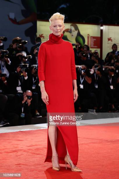 Tilda Swinton walks the red carpet ahead of the 'Suspiria' screening during the 75th Venice Film Festival at Sala Grande on September 1 2018 in...