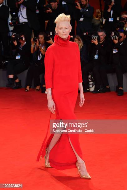Tilda Swinton walks the red carpet ahead of the 'Suspiria' screening during the 75th Venice Film Festival at Sala Grande on September 1 2018 in...