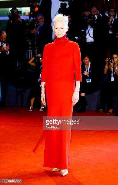 Tilda Swinton walks the red carpet ahead of the 'Suspiria' screening during the 75th Venice Film Festival on September 1 2018 in Venice Italy