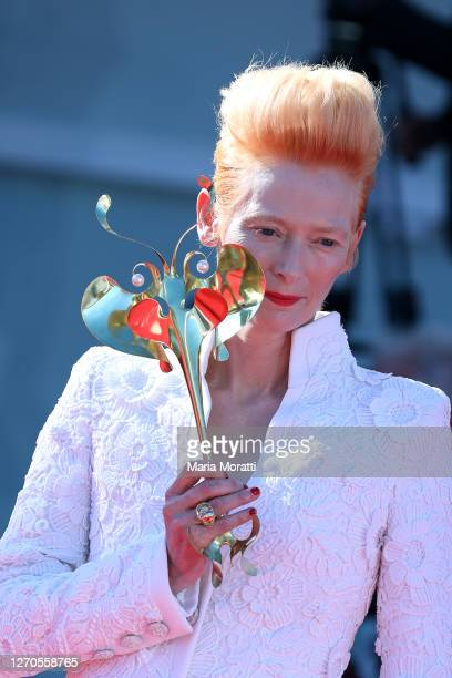 """Tilda Swinton walks the red carpet for the films """"The Human Voice"""" and """"Quo Vadis, Aida?"""" at the 77th Venice Film Festival at on September 03, 2020..."""