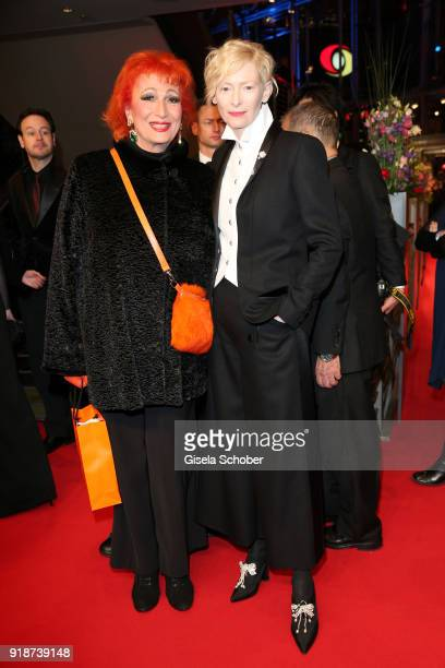 Tilda Swinton wearing Chanel and Romy Haag attend the Opening Ceremony 'Isle of Dogs' premiere during the 68th Berlinale International Film Festival...