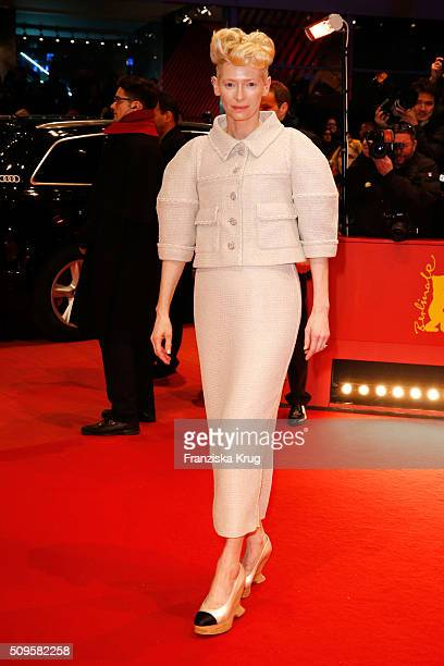 Tilda Swinton wearing Chanel attends the 'Hail Caesar' premiere during the 66th Berlinale International Film Festival Berlin at Berlinale Palace on...