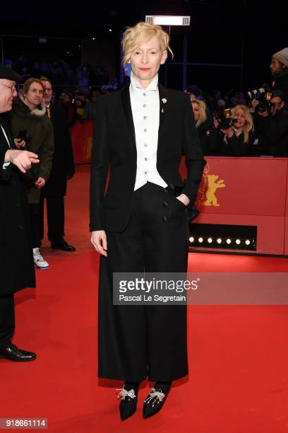 Tilda Swinton wearing Chanel attends the Opening Ceremony 'Isle of Dogs' premiere during the 68th Berlinale International Film Festival Berlin at...