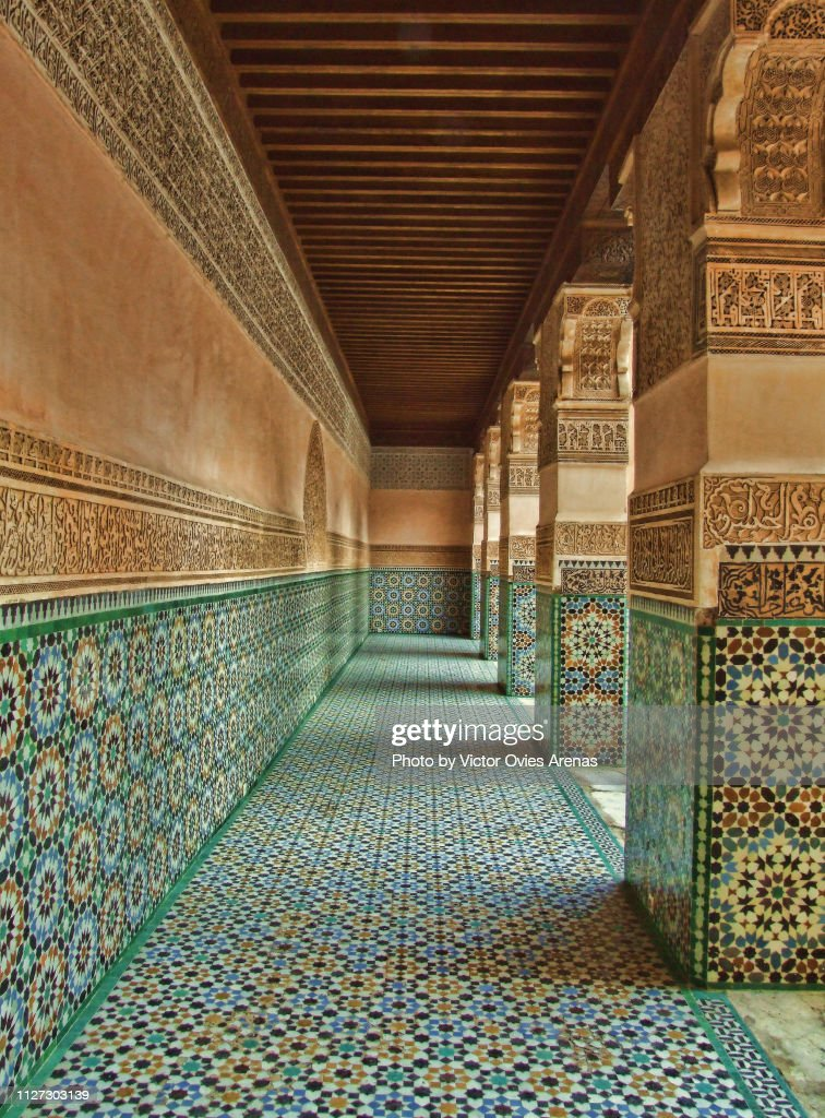 Tile alley at the Ben Youssef Madrasa, old Islamic college in Marrakesh, Morocco : Foto de stock