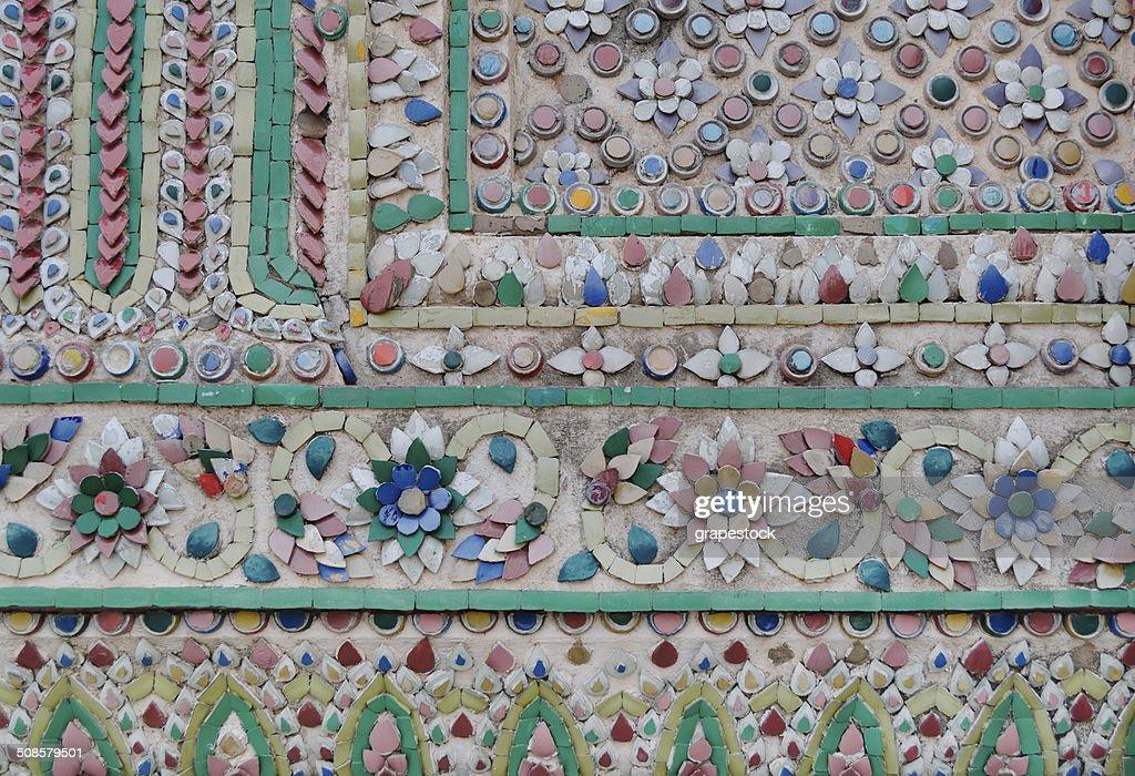 Tile Art of Thai Pagoda at Grand Palace : Stockfoto
