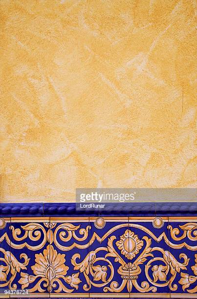 tile decorated wall - spanish culture stock pictures, royalty-free photos & images