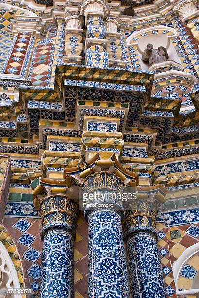tile facade of church in mexico - puebla state stock pictures, royalty-free photos & images
