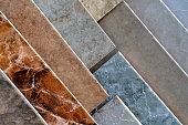 Tile flooring samples on display