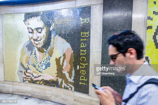 A tile mural of Remo Bianchedi in Callao station