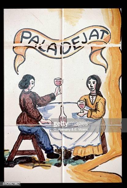Tile Painting of Wine Tasting