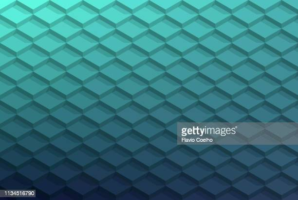 3d tile pattern abstract background with shadows - ティール色 ストックフォトと画像