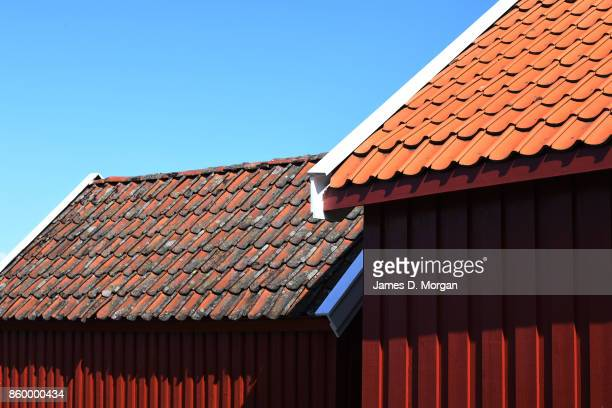 Tile roofs seen in Southern Norway in Norway in August 22nd 2017