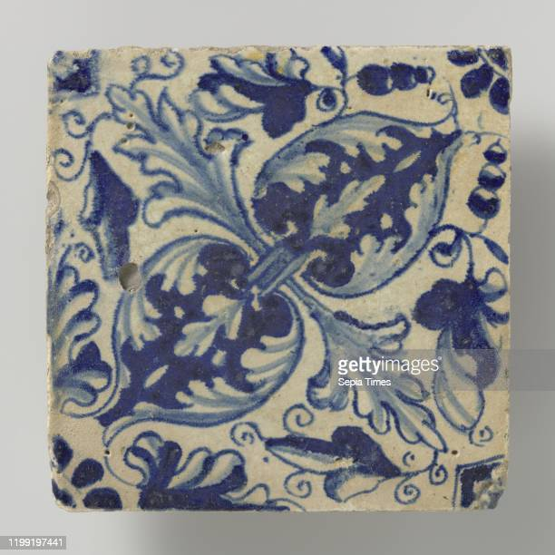 Tile Tile with blue painted leaf patterns of oak leaf placed diagonally anonymous Netherlands 1615 1625 earthenware tin glaze