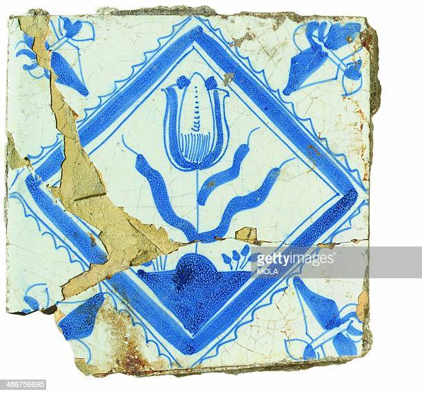 Tile with a square border fleurdelis corners and a tulip design 17th century from the 19922001 excavations at the Merrill Lynch Financial Centre City...
